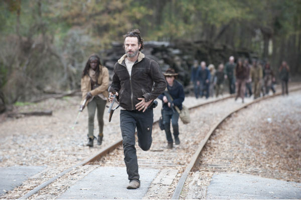 Michonne &#40;Danai Gurira&#41;, Rick Grimes &#40;Andrew Lincoln&#41; and Carl Grimes &#40;Chandler Riggs&#41; appear in a scene from AMC&#39;s &#39;The Walking Dead&#39; season 4 finale, which aired on March 30, 2014. <span class=meta>(Gene Page &#47; AMC)</span>