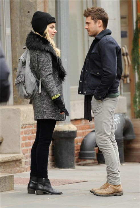 Zac Efron and British actress Imogen Poots appear on the set of the R-rated film &#39;That Awkward Moment&#39; &#40;previously titled &#39;Are We Officially Dating?&#39;&#41; in New York on Dec. 20, 2012. <span class=meta>(Bill Davila &#47; Startraksphoto.com)</span>