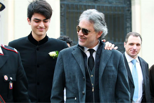 "<div class=""meta ""><span class=""caption-text "">Andrea Bocelli appears with his son Matteo Bocelli, from a previous marriage, at his wedding to longtime partner Veronica Berti. The two wed at the Sanctuary of Montenero in Italy on March 21, 2014. This marks the second marriage for the famed Italian tenor. He and Berti are parents to a daughter, who celebrated her second birthday on their wedding day. He also has another son from his previous marriage. (Masjordan Image / Abaca / Startraksphoto.com)</span></div>"