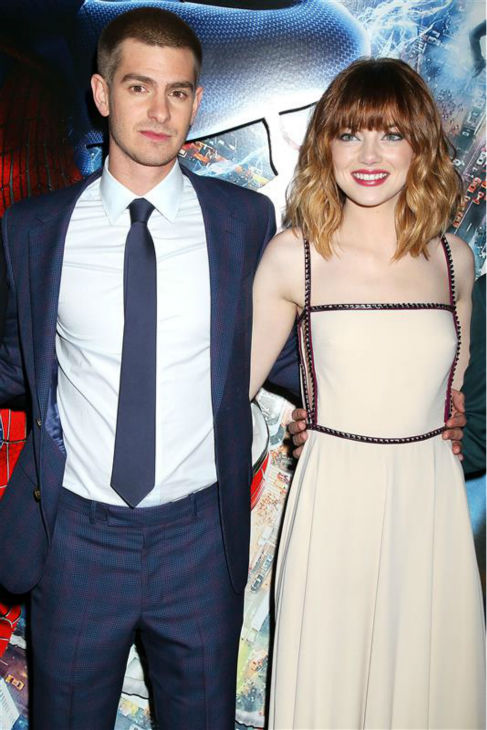 Andrew Garfield and Emma Stone appear at the premiere of &#39;The Amazing Spider-Man 2&#39; in New York on April 24, 2014. He plays Spider-Man &#47; Peter Parker. He is wearing a blue and purple checked Alexander McQueen. She plays Parker&#39;s love interest, Gwen Stacy. She is wearing a nude, studded Prada gown. <span class=meta>(Dave Allocca &#47; Startraksphoto.com)</span>