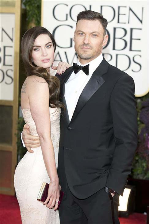 Megan Fox and Brian Austin Green appear at the 70th annual Golden Globe Awards in Los Angeles, California on Jan. 13, 2013.