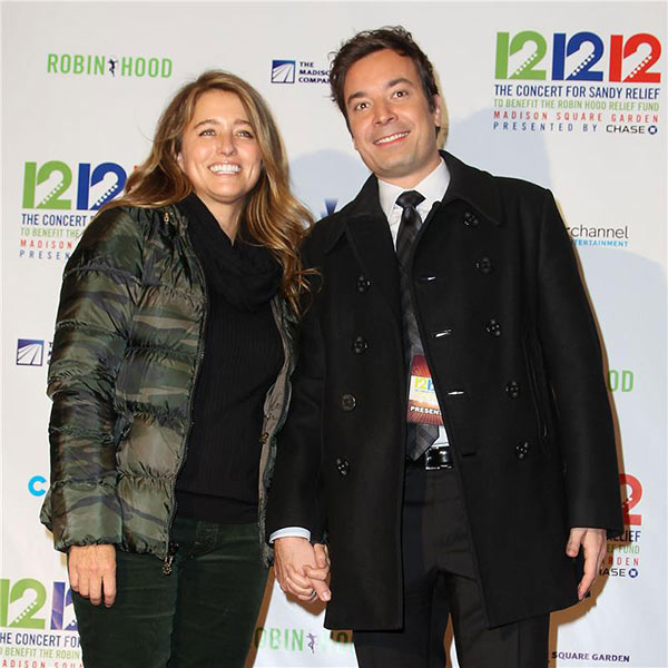 Jimmy Fallon and Nancy Juvonen attend the 12-12-12 The Concert for Sandy Relief to benefit the Robin Hood Relief Fund at Madison Square Garden in New York on Dec. 12, 2012.