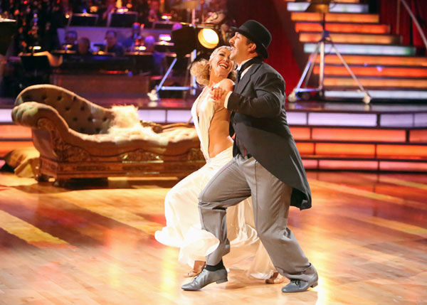"<div class=""meta ""><span class=""caption-text "">Former member of the boy band 'N Sync, Joey Fatone and his partner Kym Johnson received 22.5 out of 30 points from the judges for their Quickstep on week two of 'Dancing With The Stars: All-Stars,' which aired on Oc. 1, 2012.  (ABC / Adam Taylor)</span></div>"