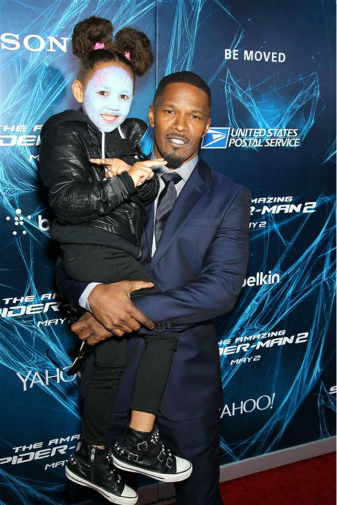 Jamie Foxx and daughter Annalise Bishop, 4, appear at the premiere of &#39;The Amazing Spider-Man 2&#39; in New York on April 24, 2014. Foxx plays the villain Electro in the movie. She later stole the show at the after party, even appearing to charm Pharrell Williams - watch video. <span class=meta>(Marion Curtis &#47; Startraksphoto.com)</span>