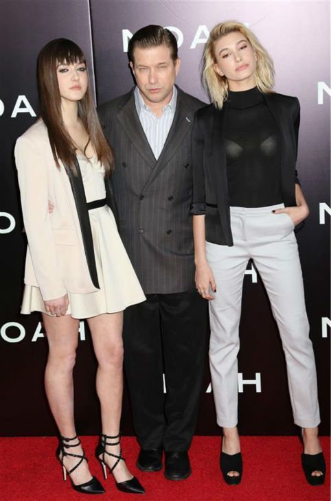 Actor Stephen Baldwin and daughters Alaia &#40;left&#41; and Hailey, who are both models, appear at the premiere of &#39;Noah&#39; in New York on March 26, 2014. Hailey is wearing an outfit by REISS. <span class=meta>(Abaca &#47; Startraksphoto.com)</span>