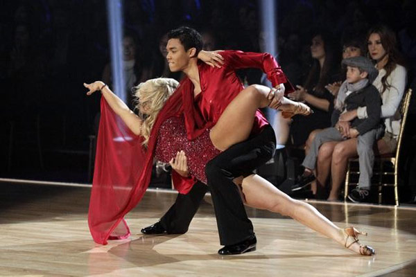 Jaleel White, his partner Kym Johnson, Disney Channel star Roshon Fegan and his partner Chelsie Hightower perform the Rumba on the &#39;Dance Duel&#39; on &#39;Dancing With The Stars: The Results Show&#39; on Tuesday, May 1, 2012. <span class=meta>(ABC)</span>