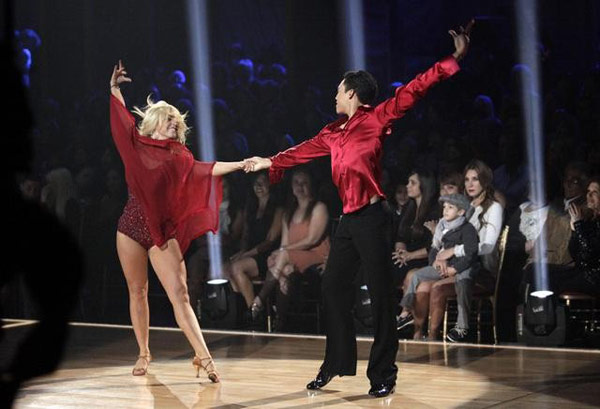 "<div class=""meta ""><span class=""caption-text "">Jaleel White, his partner Kym Johnson, Disney Channel star Roshon Fegan and his partner Chelsie Hightower perform the Rumba on the 'Dance Duel' on 'Dancing With The Stars: The Results Show' on Tuesday, May 1, 2012. (ABC)</span></div>"