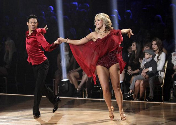 Jaleel White, his partner Kym Johnson, Disney Channel star Roshon Fegan and his partner Chelsie Hightower perform the Rumba on the 'Dance Duel' on 'Dancing With The Stars: The Results Show' on Tuesday, May 1, 2012.