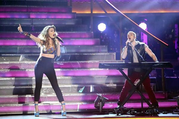 Karmin stopped by the ballroom on 'Dancing With The Stars: The Results Show' on Tuesday, Oct. 9, 2012, to perform their singles 'Hello' and 'Brokenhearted.'