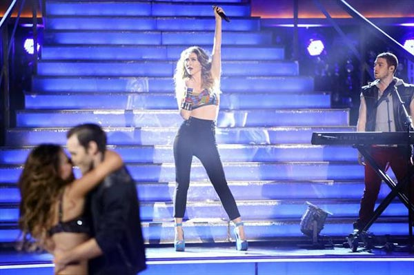"<div class=""meta image-caption""><div class=""origin-logo origin-image ""><span></span></div><span class=""caption-text"">Karmin stopped by the ballroom on 'Dancing With The Stars: The Results Show' on Tuesday, Oct. 9, 2012, to perform their singles 'Hello' and 'Brokenhearted.' (ABC Photo)</span></div>"