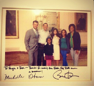 Singer Fergie Tweeted this undated photo of herself, husband Josh Duhamel and President Barack Obama and his family the day he was re-elected on Nov. 6, 2012, saying: &#39;Congratulations President @BarackObama! #Election2012 #ivoted #LOVEvoting #Obama2012.&#39; <span class=meta>(twitter.com&#47;Fergie&#47;status&#47;266043873099403265)</span>