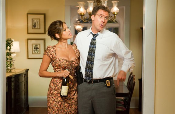 Will Ferrell (right) and Eva Mendes (left) in a scene from the movie, 'The Other Guys.'