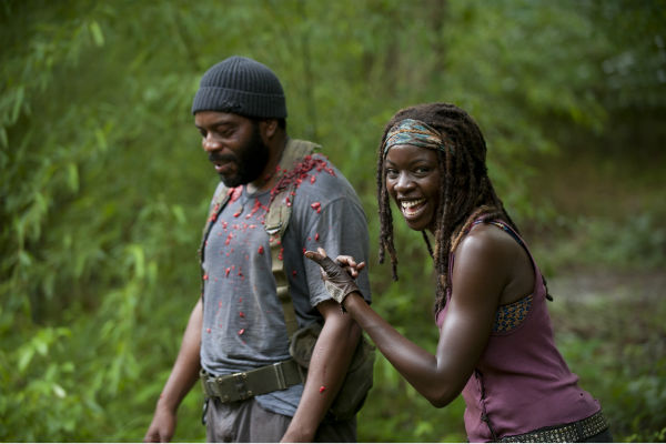 "<div class=""meta ""><span class=""caption-text "">Chad Coleman (Tyreese) and Danai Gurira (Michonne) appear on the set of AMC's 'The Walking Dead' while filming episode 3 of season 4, titled 'Isolation,' which aired on Oct. 27, 2013.  (Gene Page / AMC)</span></div>"