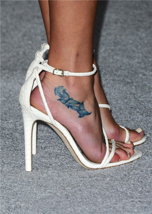 A shot of Lea Michele&#39;s sandals at ELLE&#39;s 20th Annual Women In Hollywood gala in Beverly Hills, California on Oct. 21, 2013. <span class=meta>(Sara De Boer &#47; Startraksphoto.com)</span>