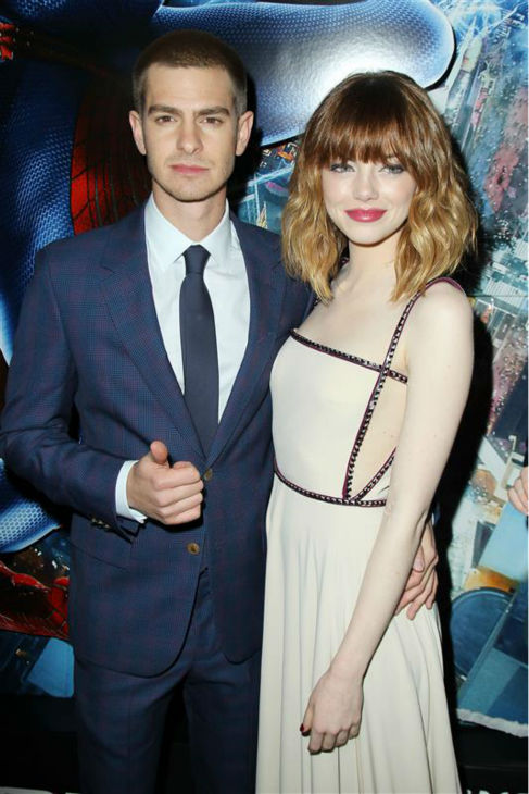 Andrew Garfield and Emma Stone appear at the premiere of &#39;The Amazing Spider-Man 2&#39; in New York on April 24, 2014. He plays Spider-Man &#47; Peter Parker. He is wearing a blue and purple checked Alexander McQueen. She plays Parker&#39;s love interest, Gwen Stacy. She is wearing a nude, studded Prada gown. <span class=meta>(Marion Curtis &#47; Startraksphoto.com)</span>