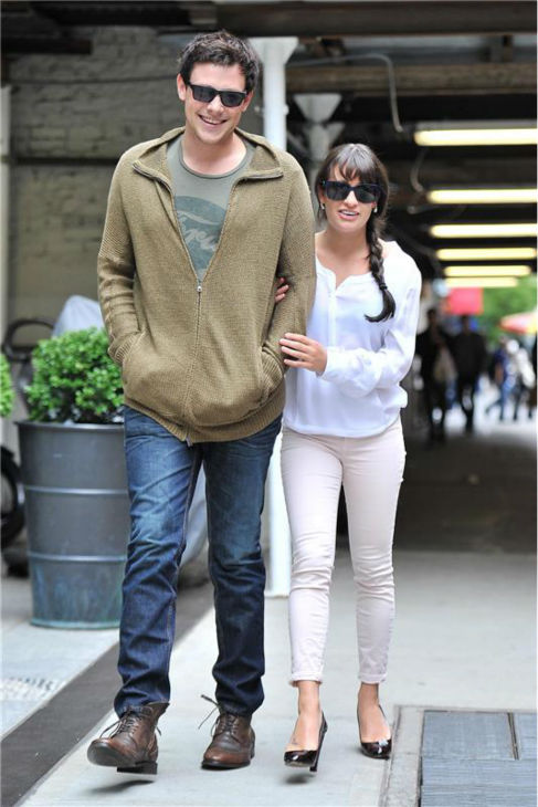Cory Monteith and Lea Michele walk together in New York City on May 7, 2012.