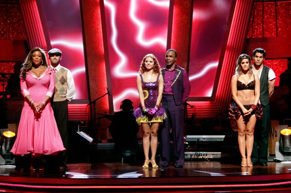 Wendy Williams and her partner Tony Dovolani, Sugar Ray Leonard and his partner Anna Trebunskaya and &#39;Psycho&#39; Mike Catherwood and Lacey Schwimmer await possible elimination on the &#39;Dancing With The Stars&#39; first elimination show of season 12 on Tuesday, March 29, 2011.  <span class=meta>(ABC Photo&#47; Adam Taylor)</span>
