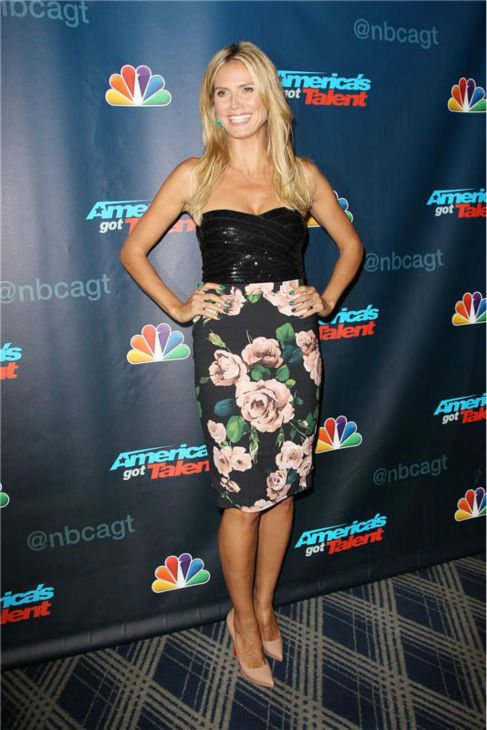 "<div class=""meta image-caption""><div class=""origin-logo origin-image ""><span></span></div><span class=""caption-text"">Heidi Klum appears at an 'America's Got Talent' post-show celebration at Radio City Music Hall in New York City on Aug. 14, 2013. She is one of four judges on the NBC show. (Kristina Bumphrey / Startraksphoto.com)</span></div>"