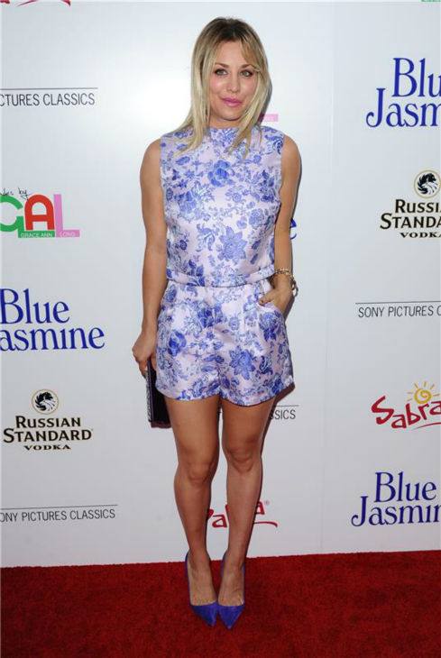 Kaley Cuoco of 'The Big Bang Theory' attends the red carpet premiere of 'Blue Jasmine' in Los Angeles on July 24, 2013.