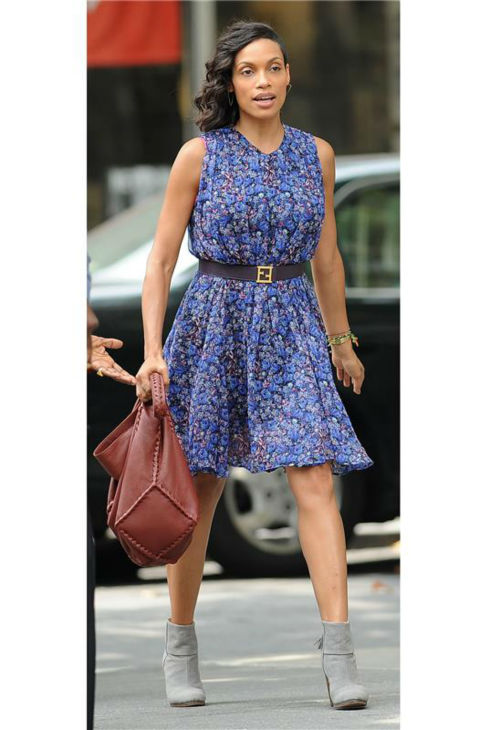 Rosario Dawson appears on the set of Chris Rock's comedy film 'Finally Famous' in New York City on July 22, 2013.