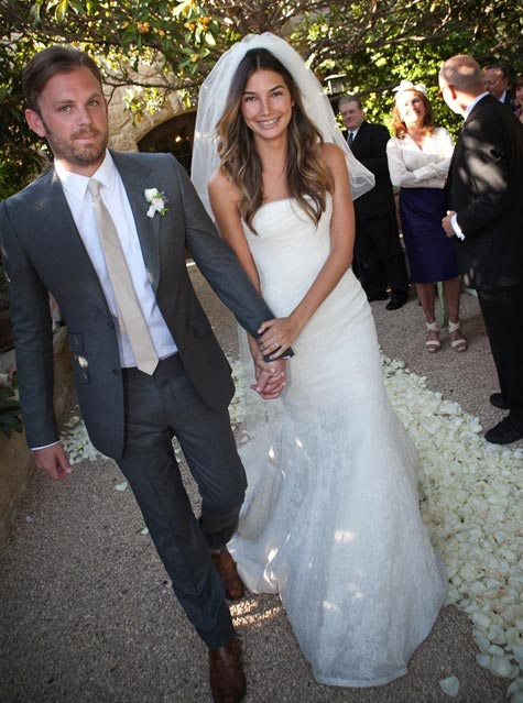 Caleb Followill, the lead singer of the rock band Kings of Leon, and model Lily Aldridge, appear at their May 12, 2011 wedding near Santa Barbara, California.
