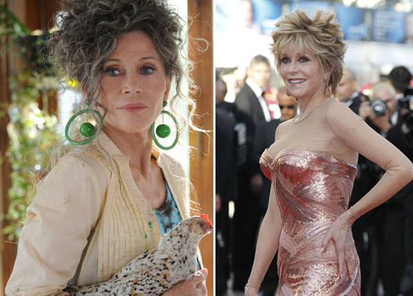 Jane Fonda appears in a scene from the 2012 movie Peace, Love and Misunderstanding. / Jane Fonda arrives for the opening ceremony and screening of Moonrise Kingdom at the 65th international film festival, in Cannes, southern France on May 16, 2012. - Provided courtesy of BCDF Pictures / IFC Films / Chopard
