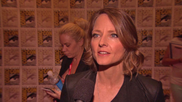 Jodie Foster talks about 'Elysium' at San Diego Comic-Con on July 13, 2012.