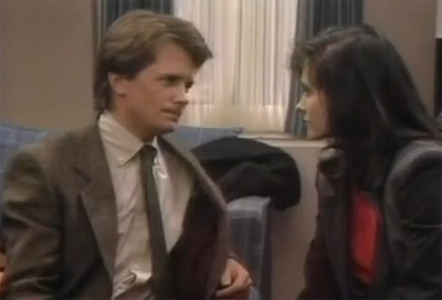 Michael J. Fox and Courteney Cox appear in a scene from the 1980s series 'Family Ties.'