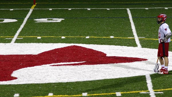 A photo of the football field during a lacrosse game at Fox Lane High School in Bedford, New York.