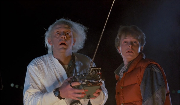 Michael J. Fox and Christopher Lloyd appear as Marty McFly and Doc Brown in a scene from the 1985 movie 'Back To The Future.'