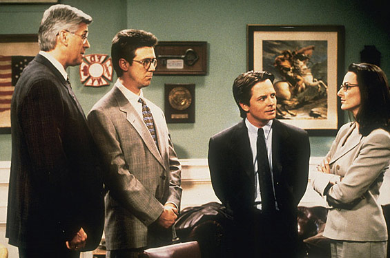 Michael J. Fox appears in a scene from the 1990s series 'Spin City.'