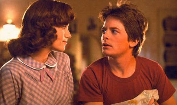 Michael J. Fox and Lea Thompson appear in a scene from the 1985 movie &#39;Back To The Future.&#39; <span class=meta>(Universal Pictures)</span>