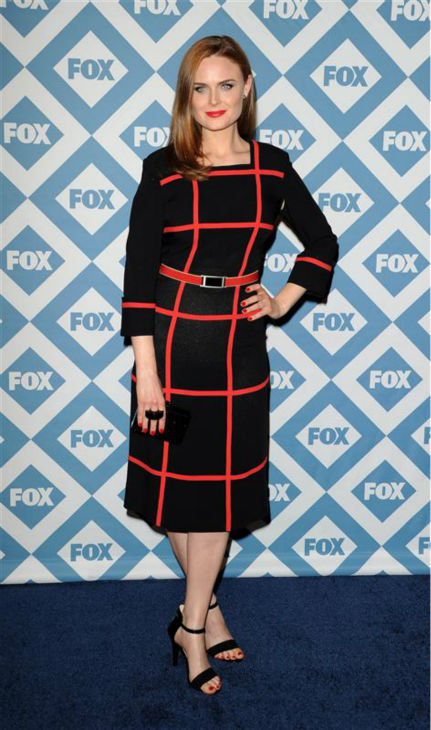 Emily Deschanel (star of the FOX series 'Bones') appears at the FOX Winter 2014 event's all-star party at the Langham Hotel in Pasadena, California on Monday, Jan. 13, 2014.