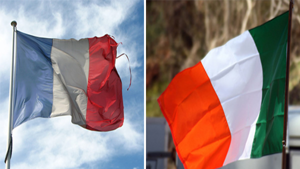 A photo of the Irish flag. / A photo of the French flag.