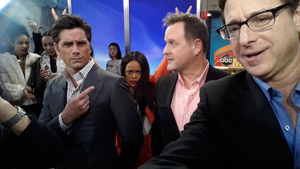 Rihanna photo-bombs &#39;Full House&#39; stars John Stamos, Dave Coulier and Bob Saget on ABC&#39;s &#39;Good Morning America&#39; on Jan. 29, 2014. &#39; Leave it to @rihanna to pull off the ever complicated DOUBLE BUNNY EARS! #RihannaOnGMA,&#39; the show tweeted. <span class=meta>(pic.twitter.com&#47;vqkWj8ZcES &#47; twitter.com&#47;GMA&#47;status&#47;428526281672896512&#47;photo&#47;1)</span>
