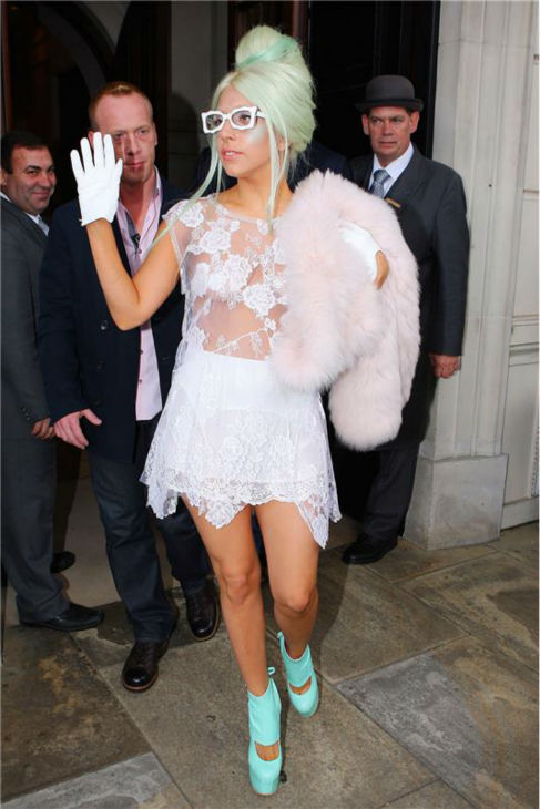Lady Gaga leaves her hotel in London on Oct. 5, 2011. <span class=meta>(Beretta &#47; Sims &#47; Startraksphoto.com)</span>