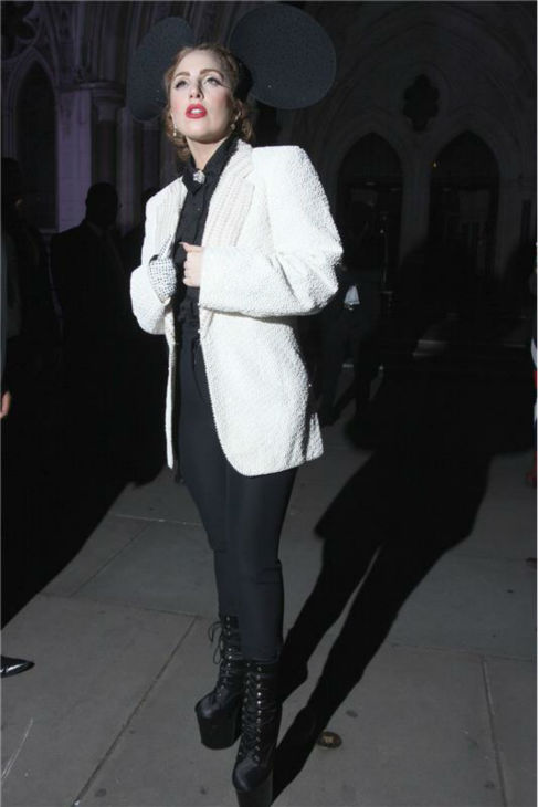 Lady Gaga leaves the Philip Treacy Spring/Summer 2013 show after party during London Fashion Week on Sept. 16, 2012.