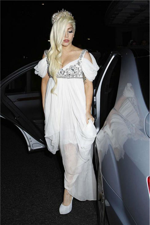 Lady Gaga arrives at the Dorchester Hotel in London on Sept. 9, 2012. Lady Gaga is in the British city as part of her tour.