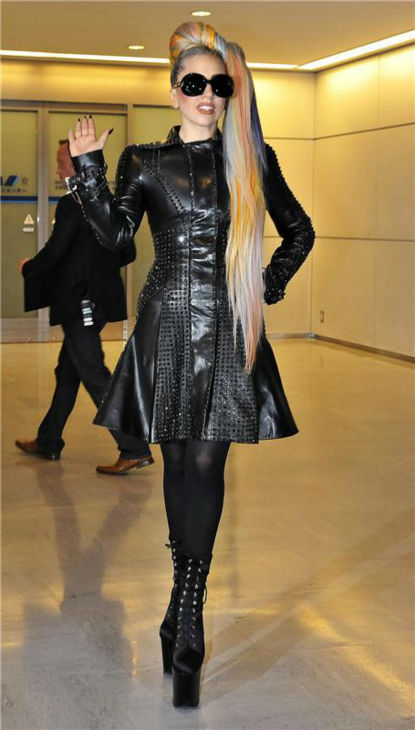 Lady Gaga arrives at Narita Internation Airport in Chiba, Japan on May 8, 2012.