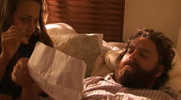 Zack Galifianakis appeared in Fiona Apple&#39;s music video &#39;Not About Love,&#39; which was released in 2005. Galifianakis and Apple are seen in bed together, and walking the streets of a neighborhood as he lipsyncs the song. Galifianakis is known for his roles in movies such as &#39;The Hangover,&#39; &#39;Dinner for Shmucks&#39; and &#39;Due Date.&#39; <span class=meta>(Sony BMG Music Entertainment)</span>