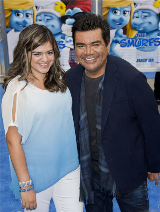 George Lopez and daughter Mayan Lopez attend the premiere of &#39;The Smurfs 2&#39; at the Regency Village Theatre in Westwood, near Los Angeles, on July 28, 2013. <span class=meta>(Lionel Hahn &#47; Abacausa &#47; startraksphoto.com)</span>