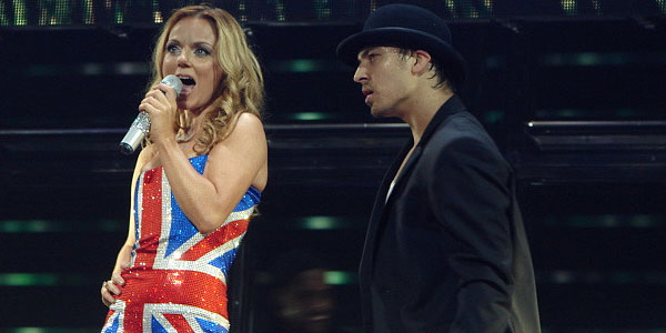 Geri Halliwell appears in a photo performing...