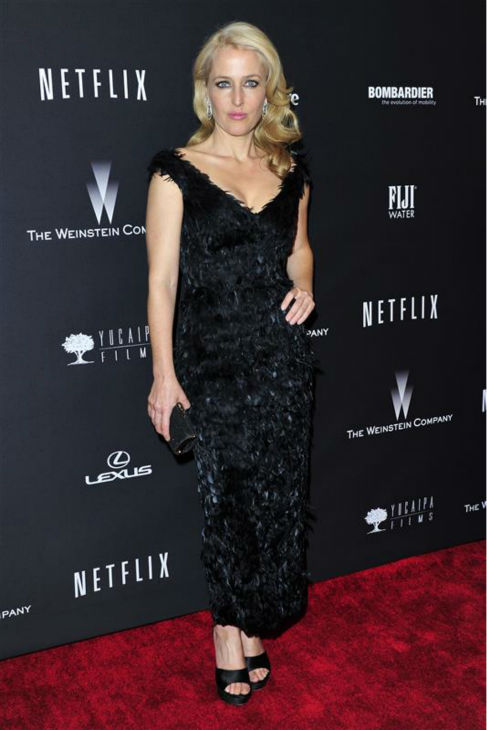Gillian Anderson &#40;&#39;The X-Files&#39;&#41; appears at the Weinstein Company&#39;s and Netflix&#39;s 2014 Golden Globe Awards after party at the Beverly Hilton hotel in Beverly Hills, California on Jan. 12, 2014.  <span class=meta>(Kyle Rover &#47; Startraksphoto.com)</span>