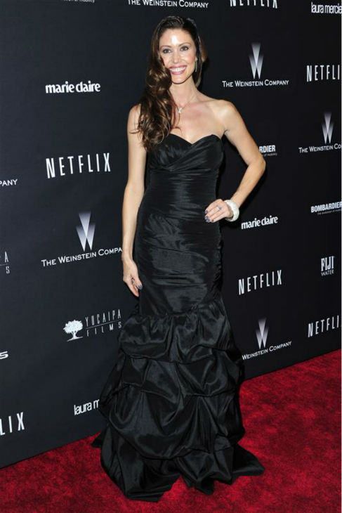 Shannon Elizabeth &#40;&#39;American Pie&#39;&#41; appears at the Weinstein Company&#39;s and Netflix&#39;s 2014 Golden Globe Awards after party at the Beverly Hilton hotel in Beverly Hills, California on Jan. 12, 2014. She is wearing a vegan gown designed by Dalia MacPhee. <span class=meta>(Kyle Rover &#47; Startraksphoto.com)</span>