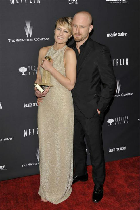 Robin Wright &#40;who won a Golden Globe for her role in Netflix&#39;s &#39;House of Cards&#39;&#41; appears with fianc&#233; Ben Foster at the Weinstein Company&#39;s and Netflix&#39;s 2014 Golden Globe Awards after party at the Beverly Hilton hotel in Beverly Hills, California on Jan. 12, 2014. <span class=meta>(Kyle Rover &#47; Startraksphoto.com)</span>