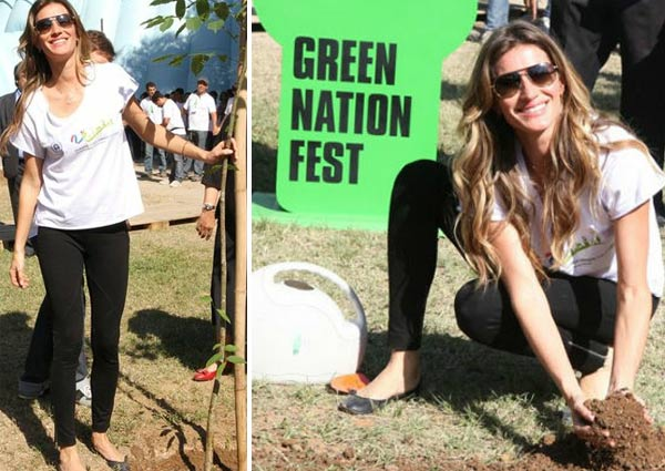 Gisele Bundchen plants a tree during the Green Nation Fest festivities in Rio de Janeiro in Brazil on June 4, 2012.
