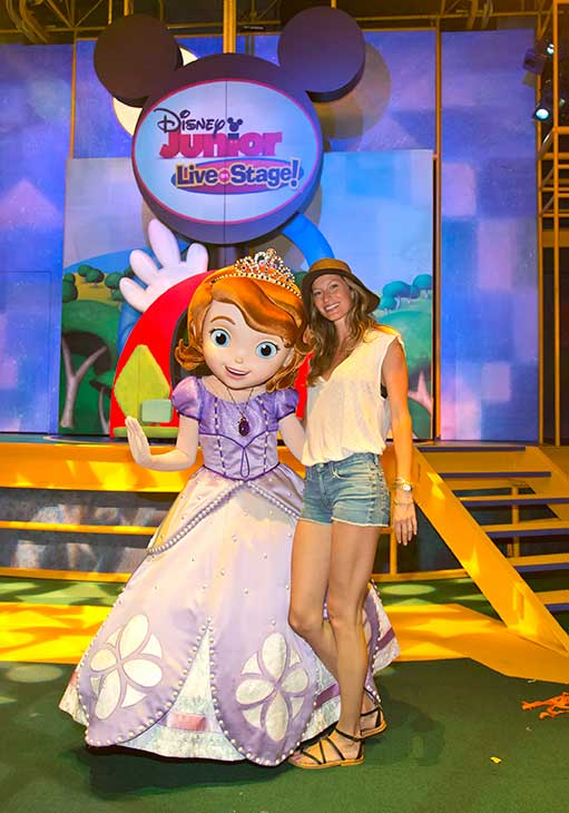 Gisele Bundchen poses with Princess Sofia, the star of Disney Junior's popular animated series, 'Sofia the First,' who is now greeting guests daily at Disney California Adventure park in Anaheim, California.