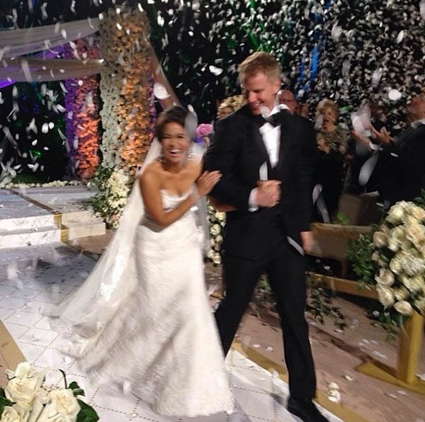 "<div class=""meta image-caption""><div class=""origin-logo origin-image ""><span></span></div><span class=""caption-text"">'The Bachelor' season 17 star Sean Lowe and Catherine Giudici walk down the aisle at their wedding, which aired live on ABC on Jan. 26, 2014 from the Four Seasons Biltmore hotel in Santa Barbara, CA.  'The best day of my life. I'm a Lowe!' Giudici said on her Instagram page, alongside this photo. (instagram.com/p/jrp1LnhrNa/ instagram.com/catherinegiudici)</span></div>"