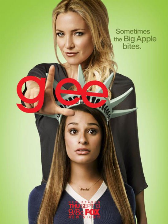 Kate Hudson and Lea Michele appear in a promotional photo for 'Glee's fourth season. Co-creator
