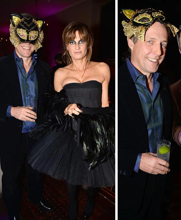 Hugh Grant appears with ex-girlfriend Jemima Khan at theUNICEF 2013 Halloween Ball in London on Oct. 31, 2013.